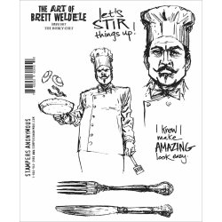 "画像1: The Burly Chef/Brett Weldele Cling Stamps 7""X8.5"""