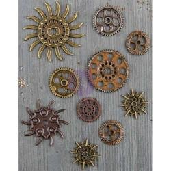 画像2: Steampunk Gears 10/Pkg: Finnabair Mechanicals Metal Embellishments