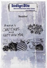 "Baubles :IndigoBlu Cling Mounted Stamp 5""X4"""