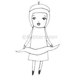 画像1: Girl with Banner & Beret (Cling Stamp)