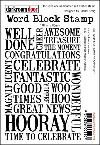 congratulations word block stamp cling foam stamp ciao carina