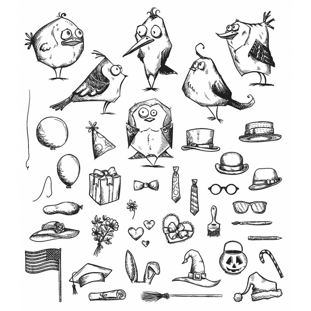 """Tim Holtz Cling Stamps 7/""""X8.5/""""-Mini Bird Crazy /& Things CMS-LG-250"""